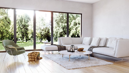 modern interior living room, garden view perspective
