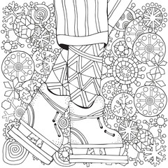 Winter Boy On Skates Snowflakes Adult Coloring Book Page Vertical Pattern For
