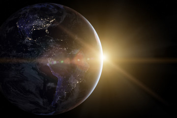 Earth in the space. Beautiful sunrise. Elements of this image furnished by NASA.
