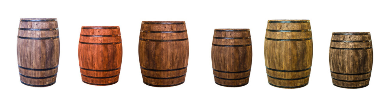 row brown oak barrel maturation wine extract set of large and small cask
