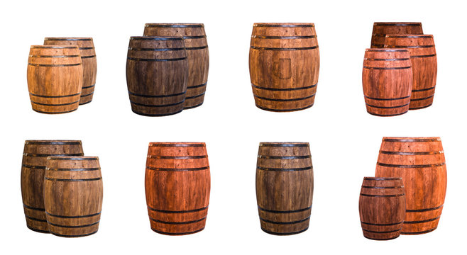 set of oak barrels light brown stamped logo beer mugs and dark elongated and two ask one against other