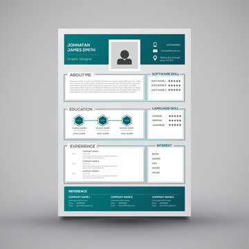 green curriculum vitae template design
