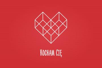 """Serce złożone z figur geometrycznych, trzech sześcianów na czerwonym tle z napisem """"Kocham Cię"""""""