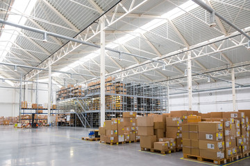 Large warehouse with a variety of boxes