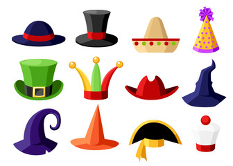 Fun carnival festive collection of cute celebration and disguise hat vector illustration isolated on white background website page and mobile app design