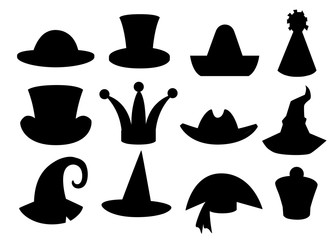 Fun carnival festive collection of cute celebration and disguise hat black silhouette vector illustration isolated on white background website page and mobile app design
