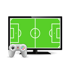 Joystick and TV with football field on screen. Video game concept. Vector