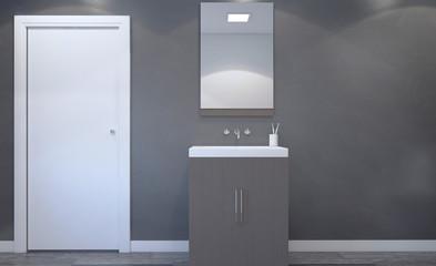 Spacious bathroom, clean, beautiful, luxurious, bright room. 3D rendering.