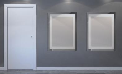 Modern Empty  bathroom. 3D rendering. Blank paintings