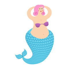 Mermaid fat. Mythical sea woman with fish tail. Vector illustration