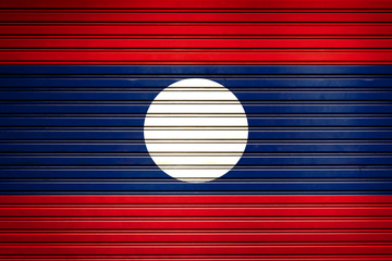 Lao South-East Asia Flag sign in iron garage door texture, flag background