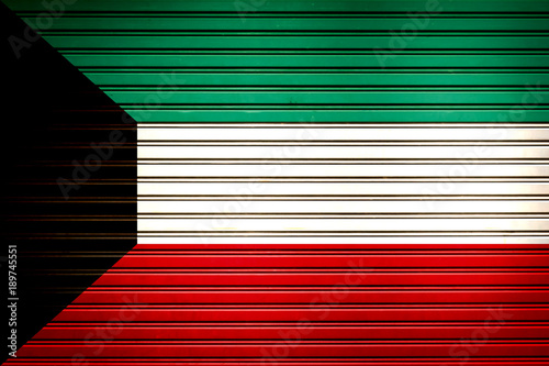 Kuwait Middle East, Western Asia Flag sign in iron garage door
