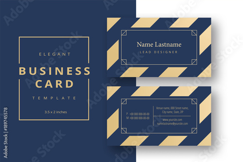 Trendy Minimal Abstract Business Card Template In Golden Color Modern Corporate Stationery Id Layout With