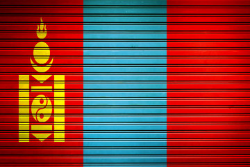 Mongolia Eastern Asia Flag sign in iron garage door texture, flag background