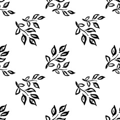 Chinese leaves. Seamless background with decorative leaves. Pattern with plants. Textile rapport.