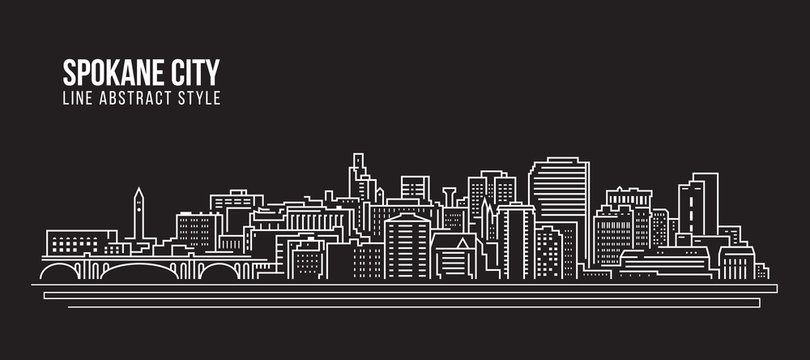 Cityscape Building Line art Vector Illustration design - Spokane city