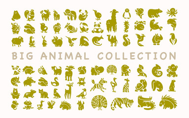 Vector collection of flat cute animal icons isolated on white background. Exotic, rare, tropic, north, african, forest & farm animals. Dog, squirrel, zebra, birds, tiger, fish, rooster, fox, frog etc.