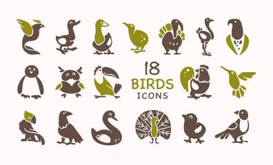 Vector collection of flat cute bird icons isolated on white background. Exotic bird silhouettes, domestic & farm, forest, northern and tropical. Good for logo templates, web design, prints, patterns