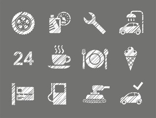 Car service icons, shading pencil, white, vector. Repair and maintenance of the car. Related products. Monochrome icons. Hatching a white pencil. Simulation. Vector clip art.