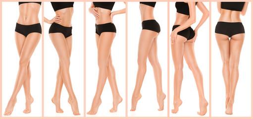 Long pretty woman legs on white background