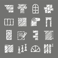 Construction and finishing materials, icons, shading pencil, white, vector. Finishing of buildings and premises. Construction icons. Vector monochrome picture. Hatching white pencil simulation.