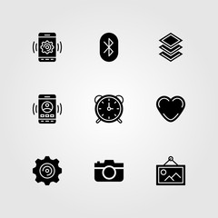 Essentials vector icon set. button, alarm clock, layers and settings