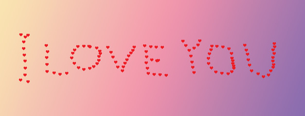 Handwritten heart shapes 'I LOVE YOU' on a gradient pink purple background