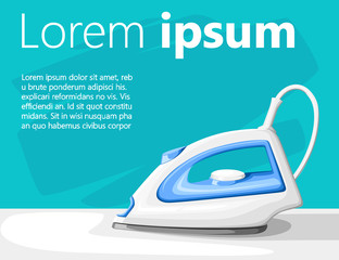 White electric steam iron on ironing board vector illustration on turquoise background with place for your text website page and mobile app design