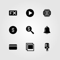 Buttons vector icon set. dollar, coin, alarm and microphone
