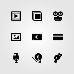Buttons vector icon set. euro, picture, microphone and donate