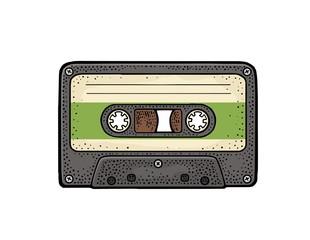 Retro audio cassette. Vintage vector black engraving illustration