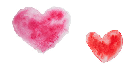Hearts watercolor on white background