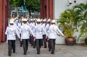 Bangkok, Thailand - November 15, 2016: guard in the Royal Palace