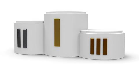 White cylinder podium roman #3