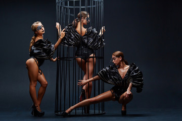 Beautiful sexy go-go performers isolated on black. Sexy girl dance group posing in black underwear...