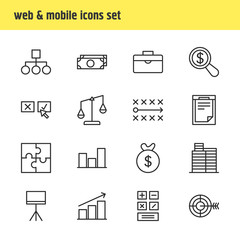 Vector illustration of 16 trade icons line style. Editable set of money, chart, scales and other icon elements.