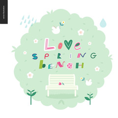 Love, spring, bench fun letetring on the gross bush with spring elements