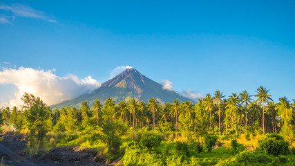 Mayon Volcano is an active stratovolcano in the province of Albay in Bicol Region, on the island of Luzon in the Philippines. Renowned as the perfect cone because of its symmetric conical shape. Wall mural