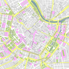 Central vienna (wien) city map illustration