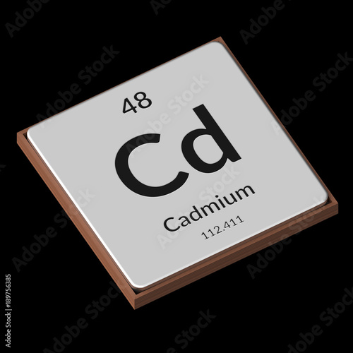 Chemical Element Cadmium Embossed Metal Plate On A Black Background