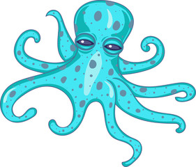 Vector illustration of Cartoon octopus