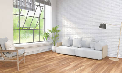 interior modern living white room and green landscape in window. 3D rendering