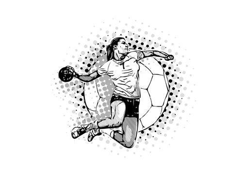 women handball vector illustration