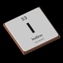 Chemical Element Iodine Embossed Metal Plate on a Black Background