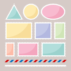 Set of color postmarks with mail and mark borders.
