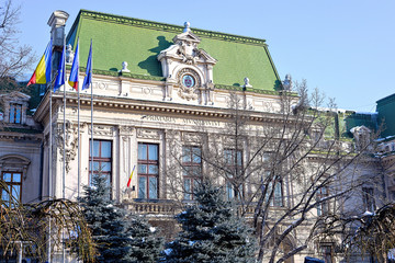 Iasi city municipality building in winter, main street stefan boulevard