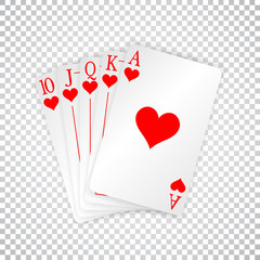 A royal straight flush playing cards poker hand in hearts