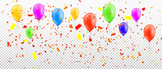 Colorful balloons and confetti on transparent background. Vector illustration