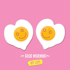 Fried Egg vector illustration. good morning concept. breakfast fried chicken egg with a orange yolk in the center of the fried egg flat laying on pink background.