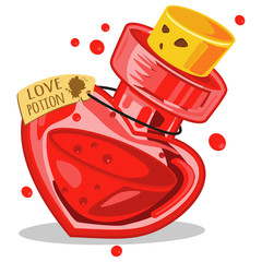 Love potion in glass bottle. Cartoon vector illustration isolated on white background.